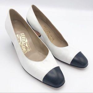 Salvatore Ferragamo Navy Blue & White Vintage Heel
